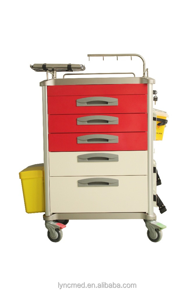 medical crash cart for sale hospital trolley with tray and drawer