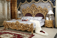 luxuious antique solid wood Italian rococo elegant Gold color European style french king size bedroom