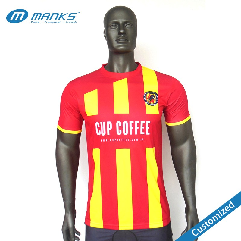 soccer jersey red and yellow contrasting full color print