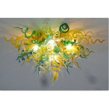 2017 NEW DESIGN YELLOW AND GREEN LED BLOWN GLASS CEILING LIGHT
