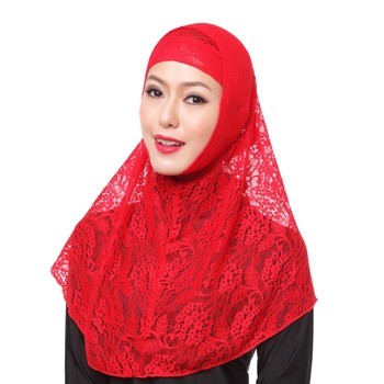 2018 latest muslim fashion hijabs Muslim women hijab with two pieces fashionable and beautiful lace hijab headscarf
