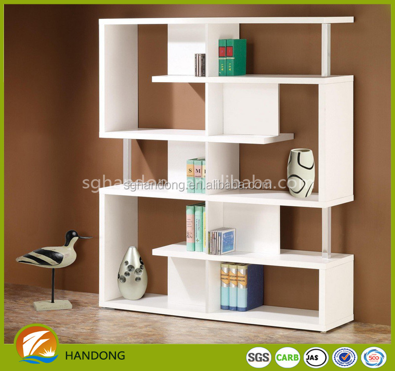 Whole sale high quality decorative white bookcase/ book shelf design