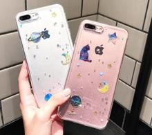 The dream sky soft tpu Crystal Clear glitter powder star moon epoxy phone case for iPhone 7 8 8plus