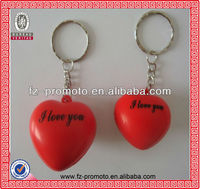 heart shape love ball keychain pu anti stress ball keychain
