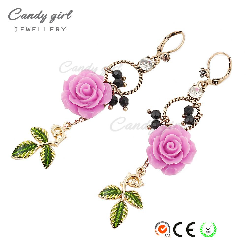 Candygirl brand newest design woman crystal elegant rose flower earrings with grass dangle earrings