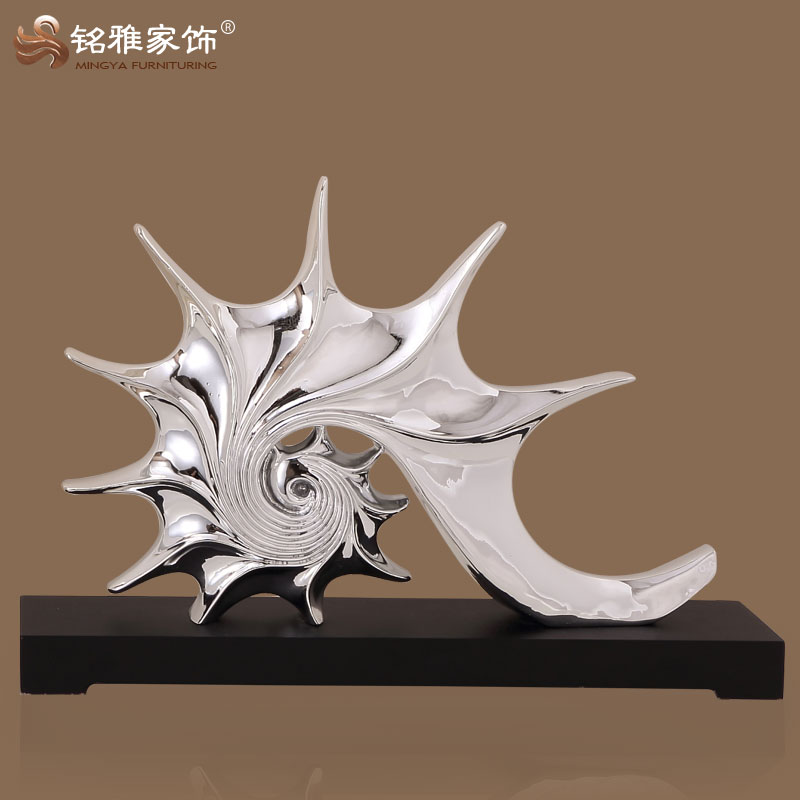 resin pure silver Conch Shell figure for home dressing table decor