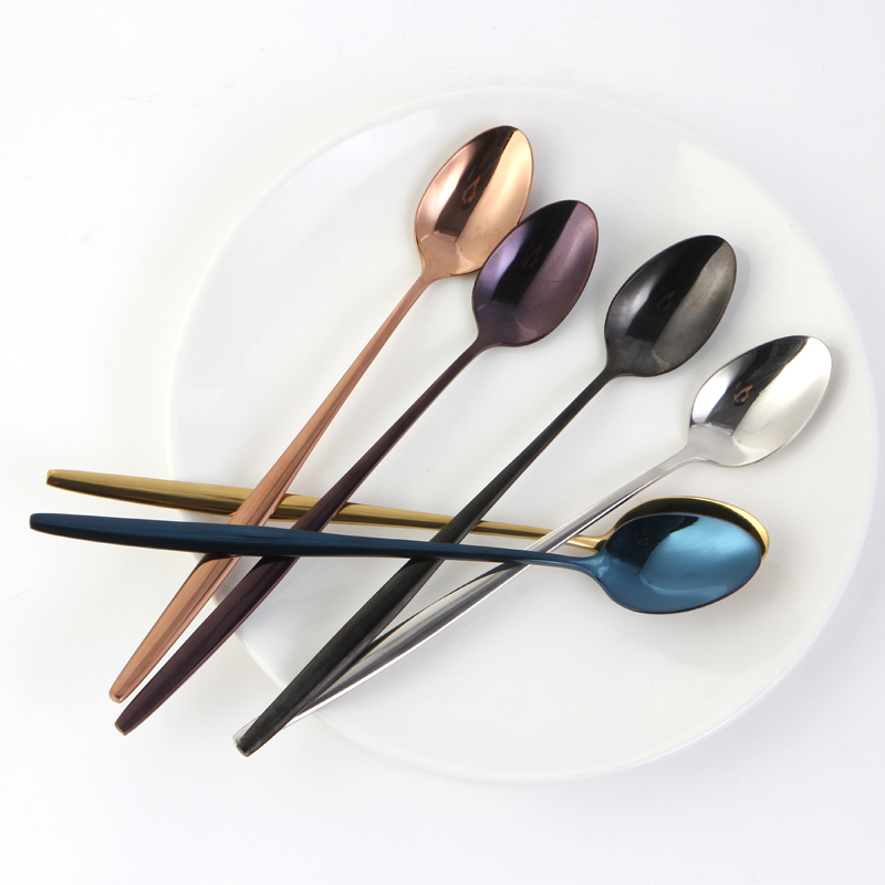Long Handle Stainless Steel Ice Cream Spoon Gold, Black, Rose Gold Colorful Juice Spoons