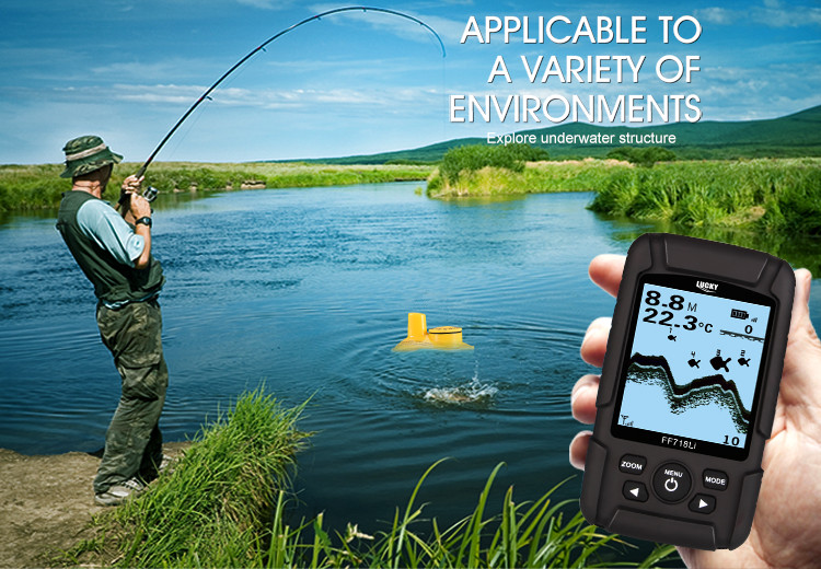 LUCKY Rechargeable Fishfinder Sonar Transducer 2-in-1 Wired & Wireless Sensor Portable Waterproof Fish Finder FF718Li