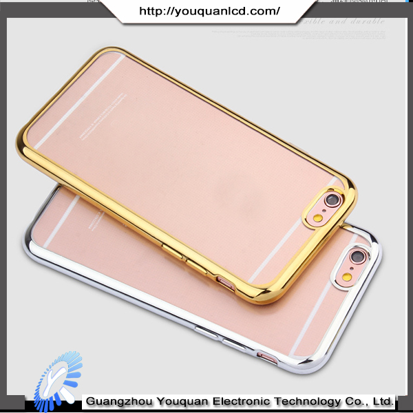 Wholesale Fashionable Ultra Thin Transparent Soft Chrome Electroplating TPU Case for iphone 6s