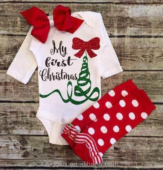 Christmas jumpsuit match baby leg warmers bowknot rompers baby clothes set