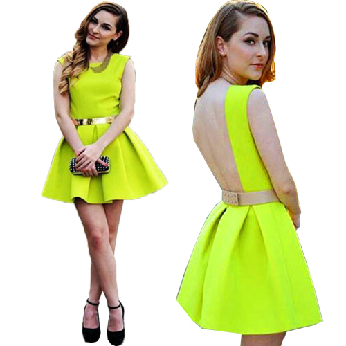 Get Quotations · Womens 2015 Neon Green Backless Dresses Sashes Pleated Mini  Sexy 2015 Spring Summer New Design Sundress 175d997e6a02