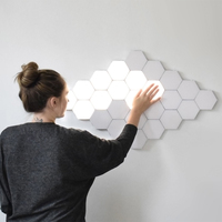 Quantum Light LED Hexagonal DIY Geometry Magnetic Assembly Modular Touch Sensor Night Light Creative Home Decorative Wall Lamp