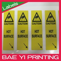Triangle logo PVC yellow electronic safety restrict label