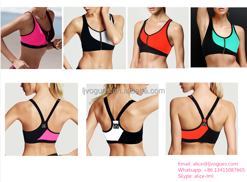 Wholesale Workout XXX Sexy Image Front Zipper bra With X Back Made In China