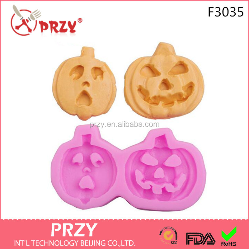 F3035 PRZY Silicone fondant cake for Halloween Pumpkin faces smiling cartoon shape cake decoration