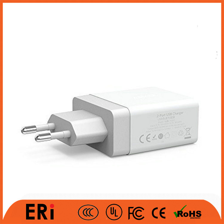 2 port usb wall charger for iPad / 3.1A wall charger with 3pin wall charger for UK market