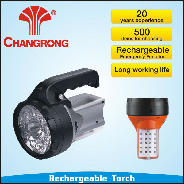 led rechargeable plastic torch flashlight two function CE ROHS CB