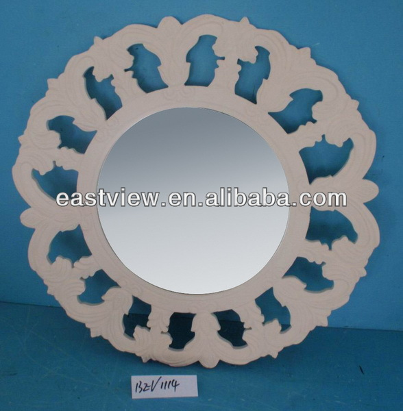 13EV1114 wooden caved edge round mdf mirror decorative compact mirrors