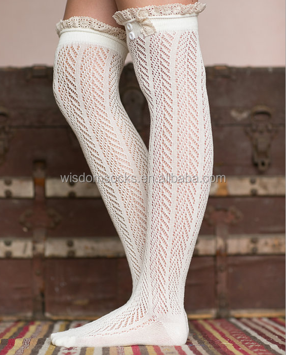 Charming Trim Knee High Crochet Button women ivory lace Boots Socks