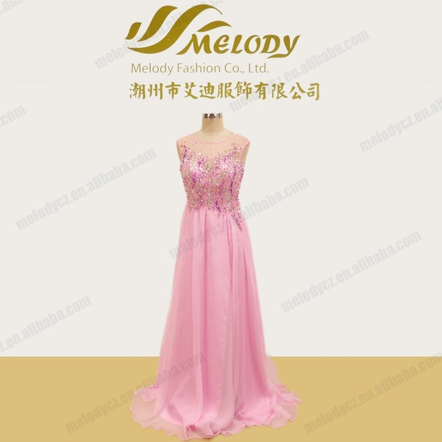 Refind pretty chiffon beaded floor-length young bridesmaid dresses light pink