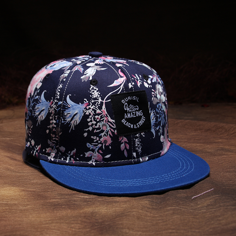 Made in China floral printed snapback cap custom high quality snapback hat with contrast color brim