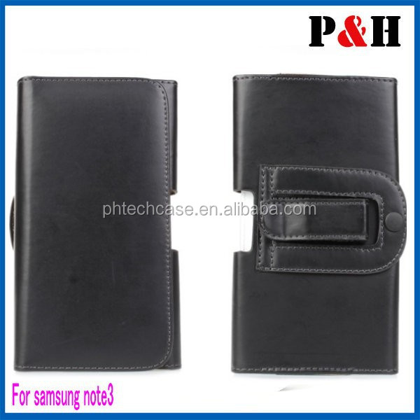 Black Belt Clip Magnetic Pouch Flip Leather Holster Case for Samsung