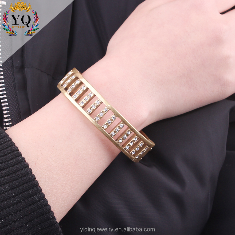 BYQ-00384 2017 jewellry gold plating cuff rhinestone fashion man bracelet