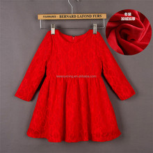 Fashion red lace cotton baby frocks designs children girl cinched waist dress