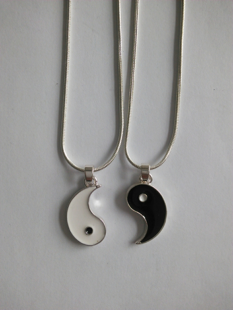 Chinese Style Yin Yang Symbol Pendant, Double Metal Alloy Necklace Wholesale