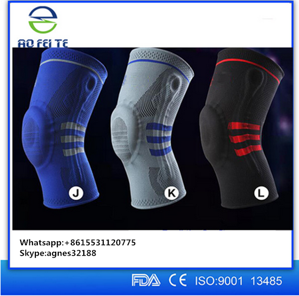 2016 High quality Customized Professional Sport Elastic Silicone Spring Knee Brace/ Knee Support