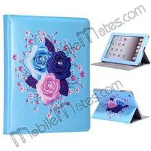 Bling Diamond Flower Pattern Rhinestone Stand Leather Flip Case For New iPad/iPad 2/iPad 4 (Blue)