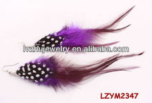 Rooster saddle and Guinea Fowl feather earrings LZYM2347