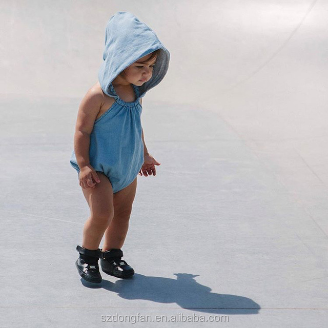 Baby Romper With Hoodie Imitate Denim Fabric Fashion Baby Clothing