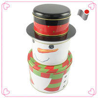 Santa christmas cookie snowman shape tin box