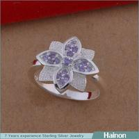 Hainon wholesale red/white/amethyst diamond cluster ring