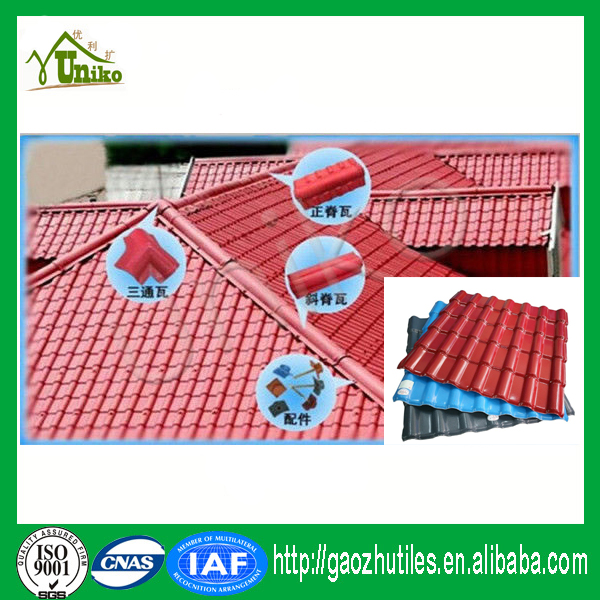 Latest building materials roofing shingles villa tile/garden tile/plastic spanish roof tile