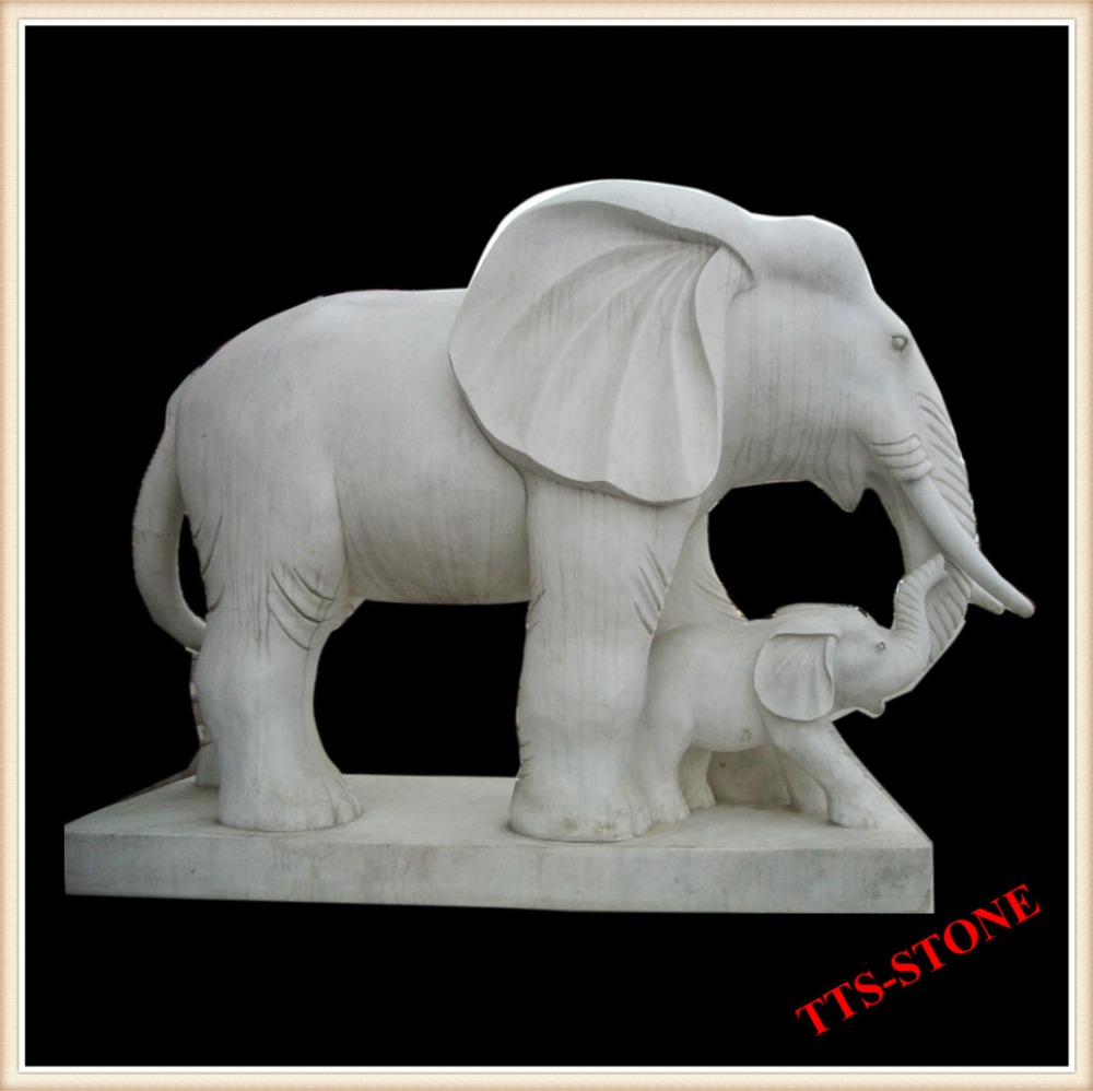 Natural Granite Stone Animal Carving Mother and Child Elephant Sculpture