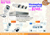 New Design IP PLC Security System.IP Homeplug Kit H.264 WIFI Network Video Recorder