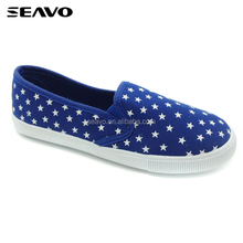 SEAVO SS18 fashion injection PVC blue cute print star canvas shoes for children