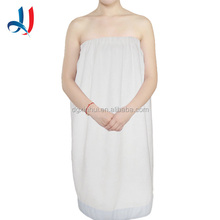 100% Cotton Terry Plain White Embroidered Soft Bath Towel, Wholesale Velcro Bath Dress for Hotel, Gym, Home Use