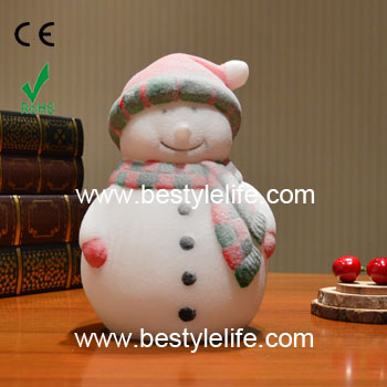 Color changing snowman shaped christmas wax led candle light