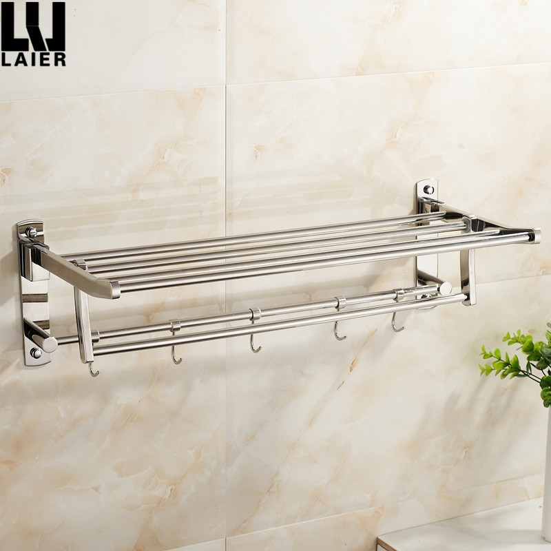 Modern Zinc Alloy Chrome Plated Bathroom Accessories Foldable Towel Rail Movable Towel Shelf For Hotel Decor
