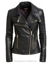 New Women Motorcycle Black Lambskin Leather Jacket Coat