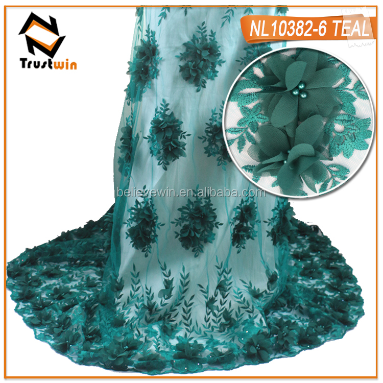 Wedding embroidery lace fabric teal french tulle lace embroidery with 3d flower patern