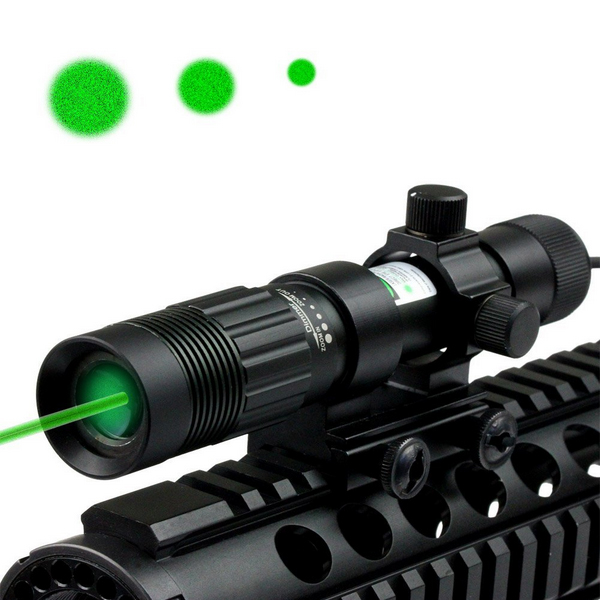 High Power Adjustable and Zoom Change Green Laser Sight Flashlight for Rifle