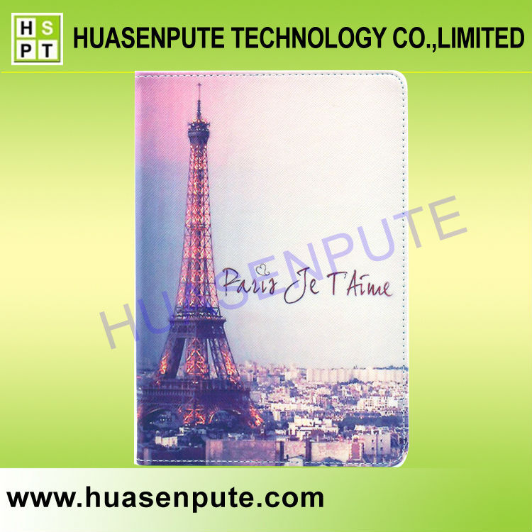Eiffel Tower Stylish Pu Leather Cover Case Wallet for iPad5 Stand Case
