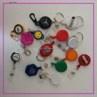retractable reel key chain/Plastic badge reel with steel cord/expoy logo plastic badge reel