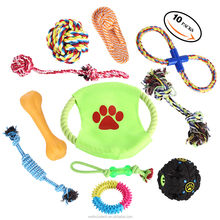 Cotton Rope Dog Toy set 10 Pack, Ball Rope and Chew Toys set for Medium to Small Doggie