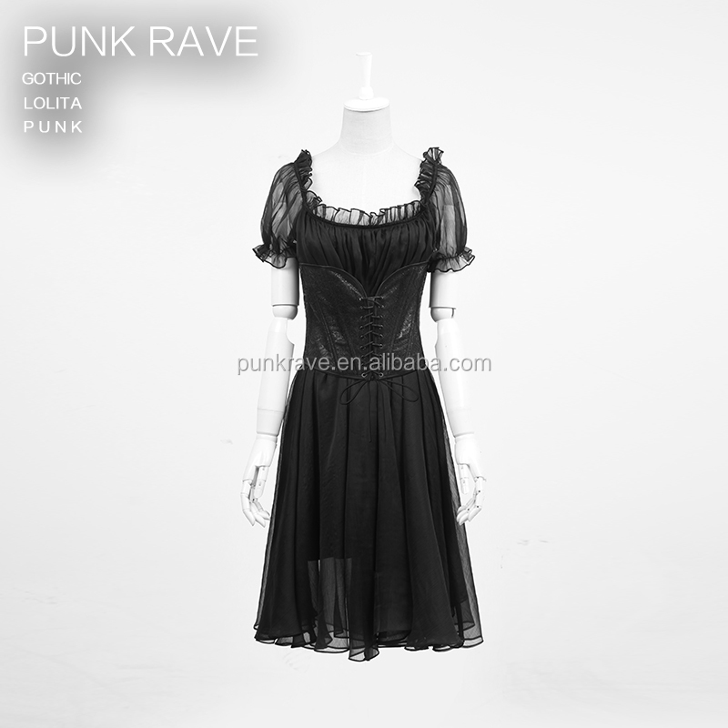 punk rave clothing manufacturers 2014 new style LQ-067 gothic lolita Two-piece backless prom dress