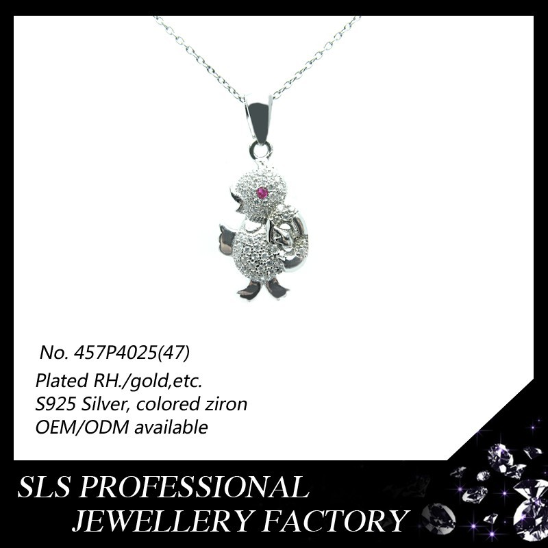 2015 New design cute chick shape 925 sterling silver gemstone animal pendants neckless for kids